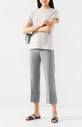Женские льняные брюки BRUNELLO CUCINELLI голубого цвета, арт. MF591P7231 | Фото 2