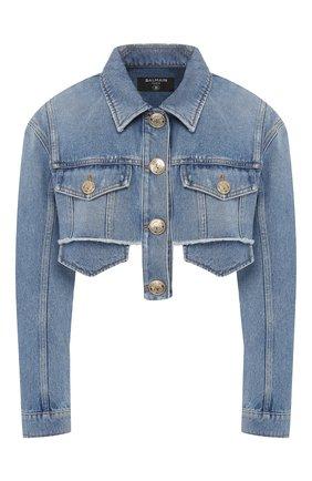 Женская джинсовая куртка BALMAIN голубого цвета, арт. TF18122/D006 | Фото 1