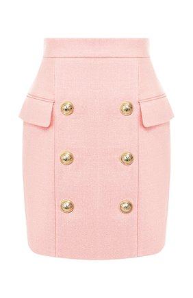 Женская юбка из вискозы BALMAIN розового цвета, арт. TF14004/V090 | Фото 1