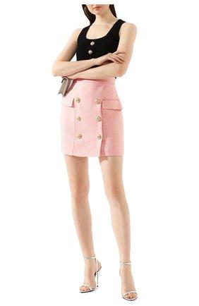 Женская юбка из вискозы BALMAIN розового цвета, арт. TF14004/V090 | Фото 2