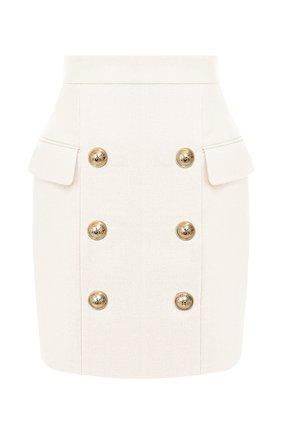 Женская юбка из вискозы BALMAIN белого цвета, арт. TF14004/V090   Фото 1