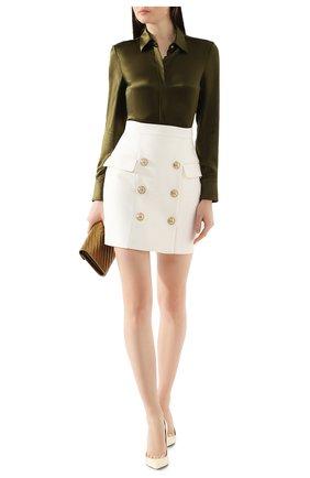 Женская юбка из вискозы BALMAIN белого цвета, арт. TF14004/V090   Фото 2