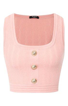 Женская топ из вискозы BALMAIN розового цвета, арт. TF10007/K030 | Фото 1