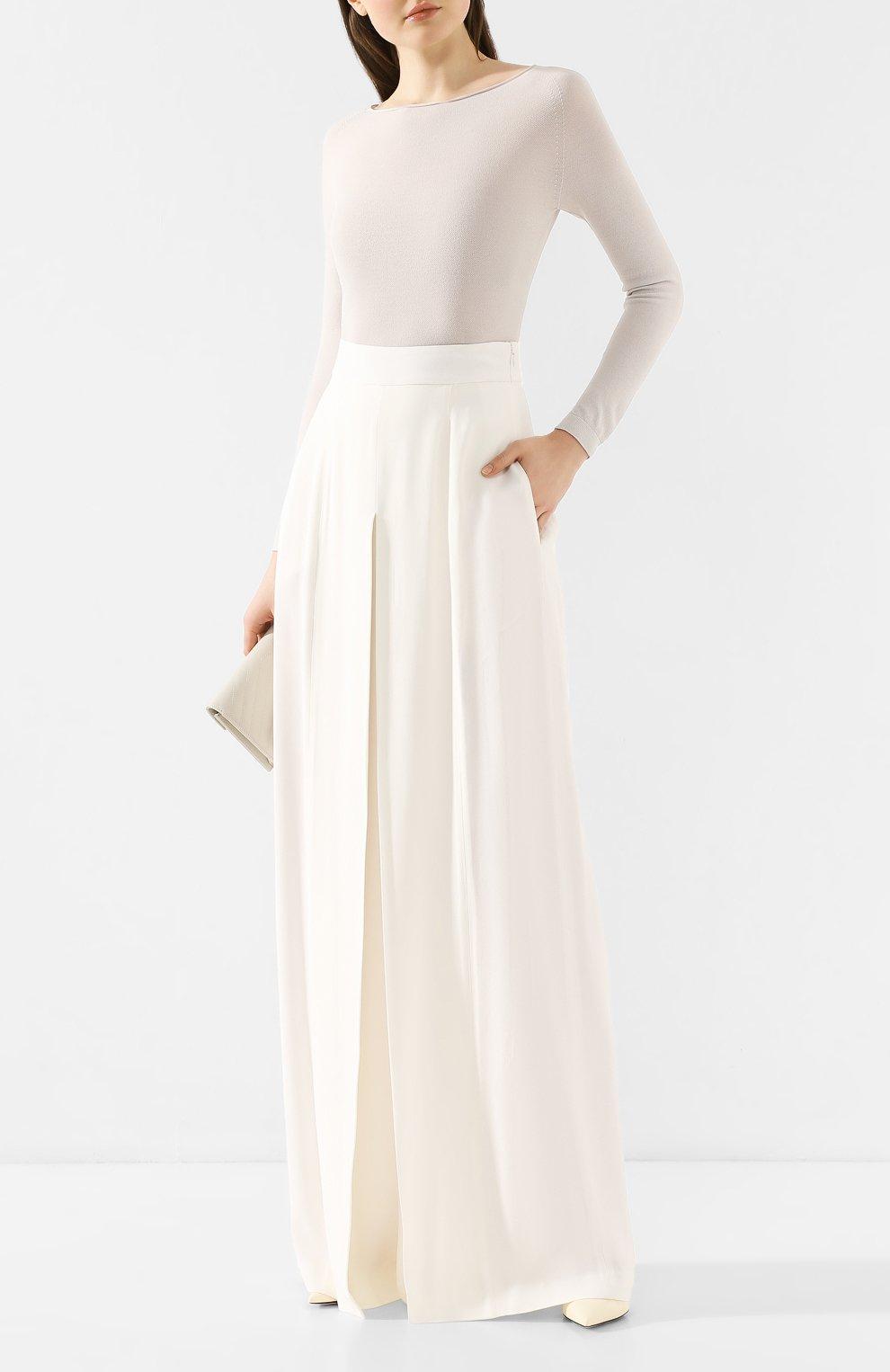 Женские брюки ADAM LIPPES белого цвета, арт. R20511SB | Фото 2 (Длина (брюки, джинсы): Удлиненные; Силуэт Ж (брюки и джинсы): Широкие; Женское Кросс-КТ: Брюки-одежда; Материал внешний: Синтетический материал; Статус проверки: Проверена категория)