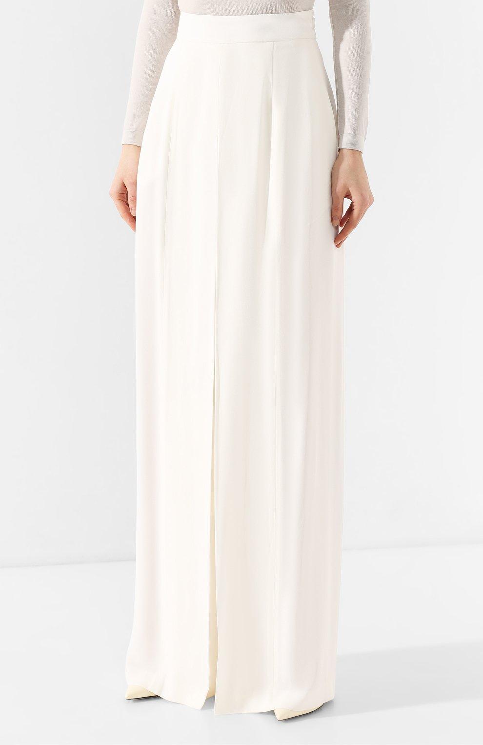 Женские брюки ADAM LIPPES белого цвета, арт. R20511SB | Фото 3 (Длина (брюки, джинсы): Удлиненные; Силуэт Ж (брюки и джинсы): Широкие; Женское Кросс-КТ: Брюки-одежда; Материал внешний: Синтетический материал; Статус проверки: Проверена категория)