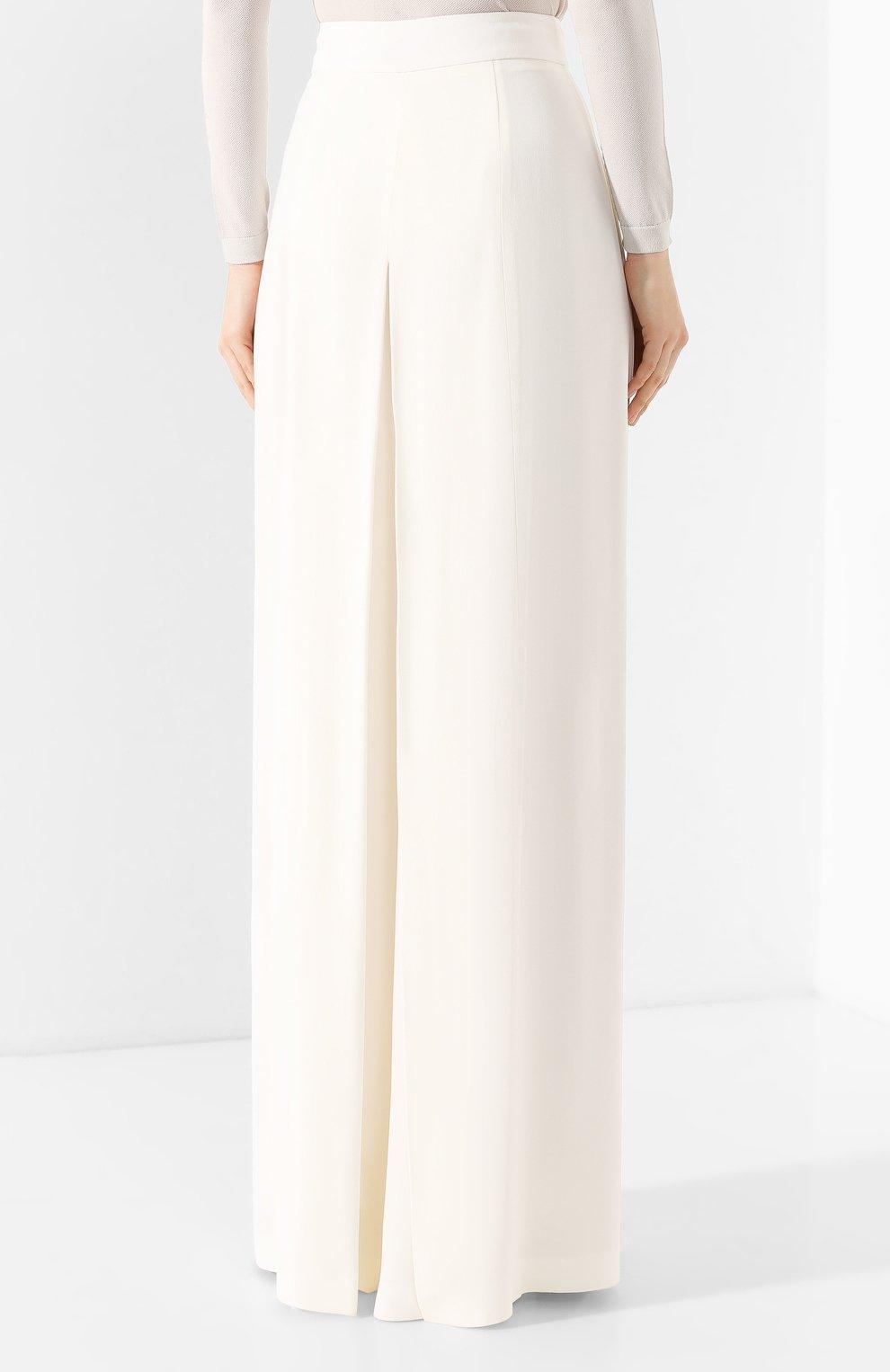 Женские брюки ADAM LIPPES белого цвета, арт. R20511SB | Фото 4 (Длина (брюки, джинсы): Удлиненные; Силуэт Ж (брюки и джинсы): Широкие; Женское Кросс-КТ: Брюки-одежда; Материал внешний: Синтетический материал; Статус проверки: Проверена категория)