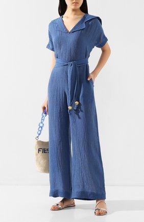Женский льняной комбинезон LISA MARIE FERNANDEZ синего цвета, арт. 2020RES341 MB0G | Фото 2