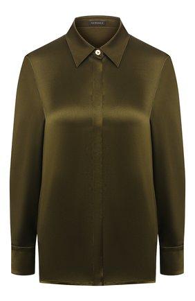 Женская шелковая рубашка VERSACE хаки цвета, арт. A82662/A231743 | Фото 1