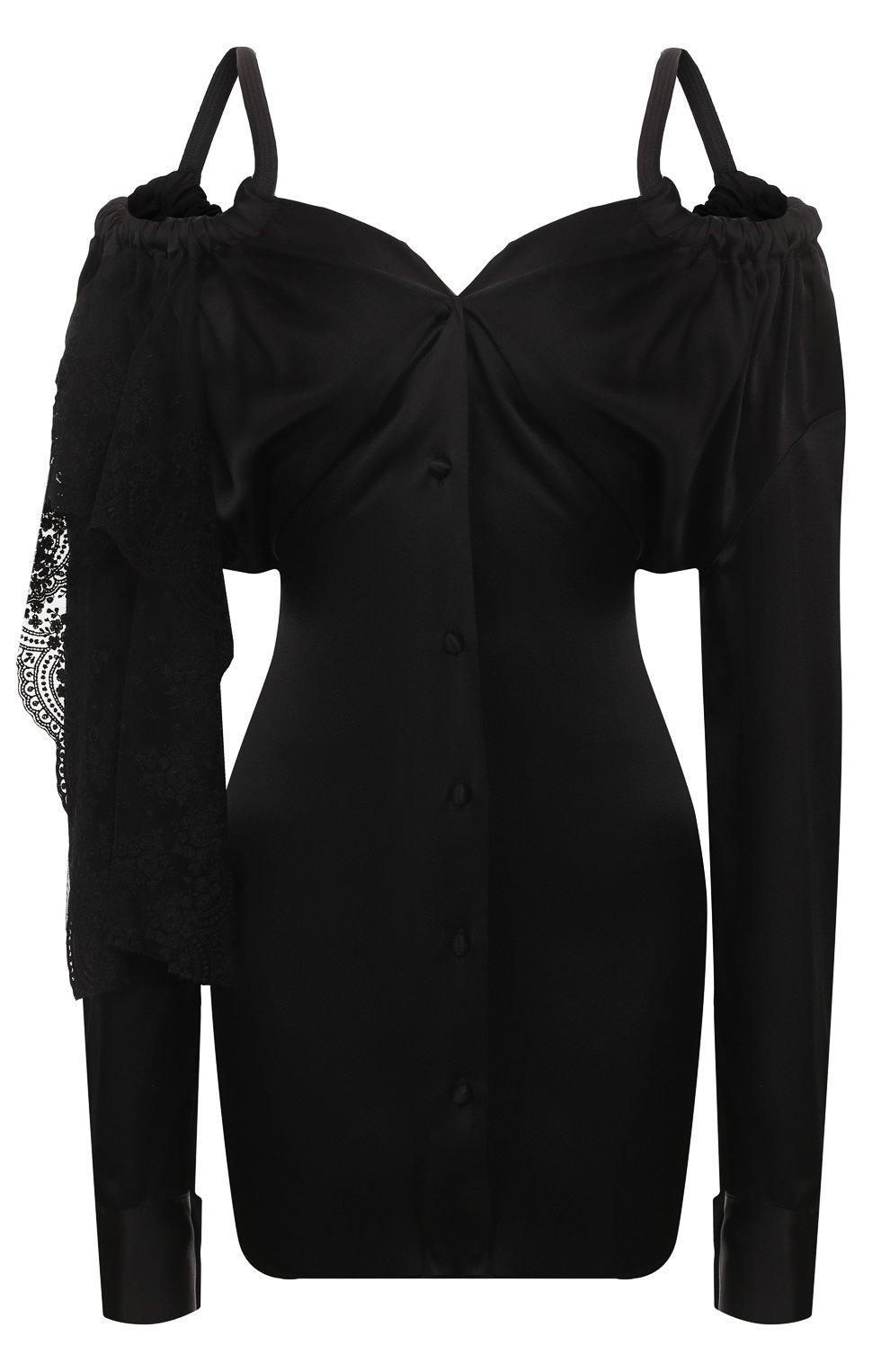 Женское платье ACT N1 черного цвета, арт. RD2002   Фото 1 (Рукава: Длинные; Случай: Повседневный; Материал внешний: Синтетический материал; Длина Ж (юбки, платья, шорты): До колена; Статус проверки: Проверена категория)