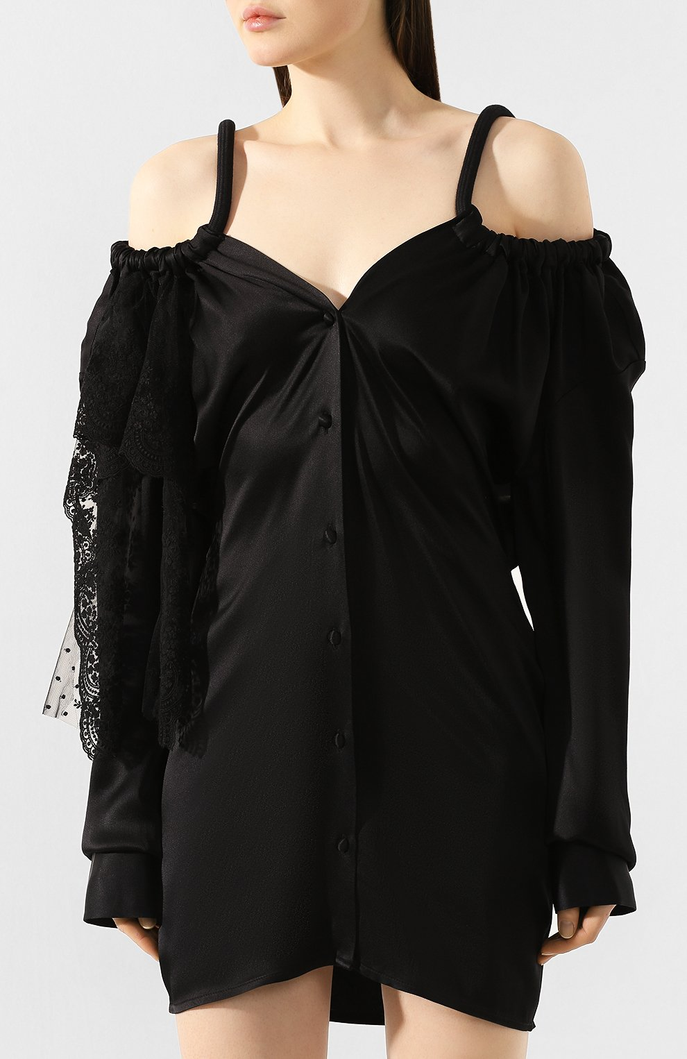 Женское платье ACT N1 черного цвета, арт. RD2002   Фото 3 (Рукава: Длинные; Случай: Повседневный; Материал внешний: Синтетический материал; Длина Ж (юбки, платья, шорты): До колена; Статус проверки: Проверена категория)