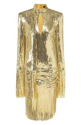 Женское платье с пайетками BALMAIN золотого цвета, арт. TF16244/X347 | Фото 1 (Длина Ж (юбки, платья, шорты): До колена; Материал внешний: Синтетический материал; Материал подклада: Шелк; Рукава: Длинные; Случай: Коктейльный, Вечерний; Статус проверки: Проверена категория; Стили: Гламурный)
