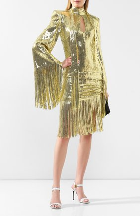 Женское платье с пайетками BALMAIN золотого цвета, арт. TF16244/X347 | Фото 2 (Длина Ж (юбки, платья, шорты): До колена; Материал внешний: Синтетический материал; Материал подклада: Шелк; Рукава: Длинные; Случай: Коктейльный, Вечерний; Статус проверки: Проверена категория; Стили: Гламурный)