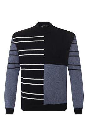 Мужской шерстяной свитер BOSS темно-синего цвета, арт. 50423343 | Фото 1