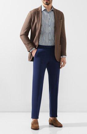 Мужской брюки из смеси хлопка и кашемира ERMENEGILDO ZEGNA синего цвета, арт. 766F15/77TB12 | Фото 2