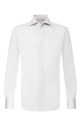 Мужская рубашка из смеси шелка и хлопка BRUNELLO CUCINELLI светло-серого цвета, арт. MTS466686 | Фото 1