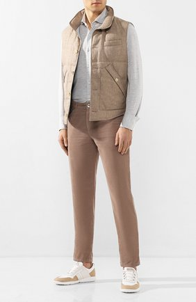 Мужская рубашка из смеси шелка и хлопка BRUNELLO CUCINELLI светло-серого цвета, арт. MTS466686 | Фото 2