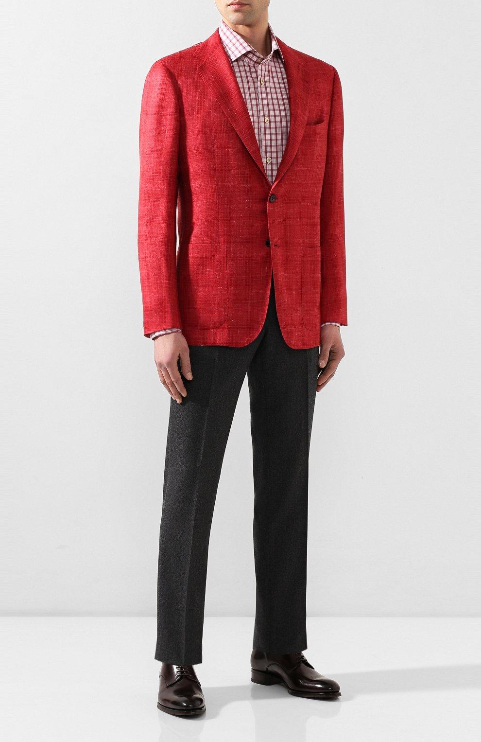 Мужская хлопковая сорочка KITON бордового цвета, арт. UCIH0730914 | Фото 2