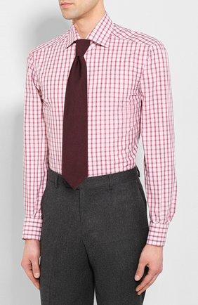 Мужская хлопковая сорочка KITON бордового цвета, арт. UCIH0730914 | Фото 4