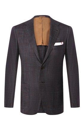 Мужской пиджак из смеси шерсти и шелка KITON коричневого цвета, арт. UG81K06S63 | Фото 1
