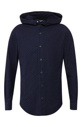 Мужская хлопковая рубашка KITON темно-синего цвета, арт. UMCMARH0722701   Фото 1