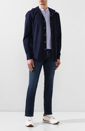 Мужская хлопковая рубашка KITON темно-синего цвета, арт. UMCMARH0722701   Фото 2
