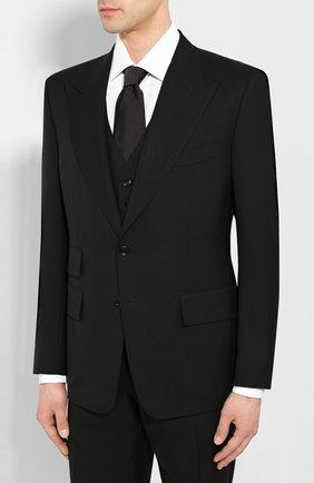 Мужской шерстяной костюм-тройка TOM FORD черного цвета, арт. 722R12/31AL43   Фото 2