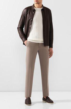 Мужские брюки из смеси хлопка и кашемира ERMENEGILDO ZEGNA темно-бежевого цвета, арт. 766F09/77TB12 | Фото 2