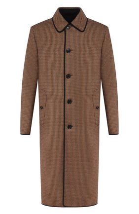 Мужской двустороннее пальто BURBERRY коричневого цвета, арт. 8024120 | Фото 1 (Материал внешний: Шерсть; Рукава: Длинные; Мужское Кросс-КТ: Верхняя одежда, пальто-верхняя одежда; Стили: Кэжуэл; Длина (верхняя одежда): Длинные)