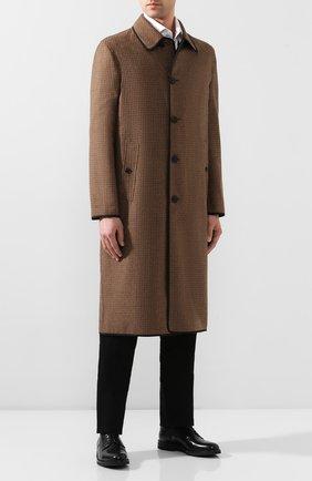 Мужской двустороннее пальто BURBERRY коричневого цвета, арт. 8024120 | Фото 2 (Материал внешний: Шерсть; Рукава: Длинные; Мужское Кросс-КТ: Верхняя одежда, пальто-верхняя одежда; Стили: Кэжуэл; Длина (верхняя одежда): Длинные)