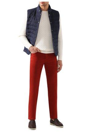 Мужские брюки изо льна и хлопка LORO PIANA красного цвета, арт. FAI1646 | Фото 2
