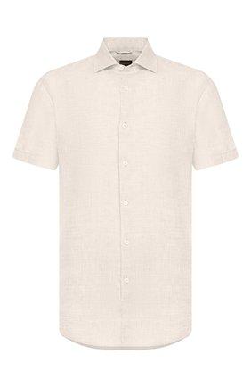 Мужская льняная рубашка ERMENEGILDO ZEGNA светло-бежевого цвета, арт. UUX38/SCF5 | Фото 1