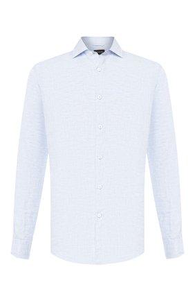 Мужская льняная рубашка ERMENEGILDO ZEGNA голубого цвета, арт. UUX38/SRF5 | Фото 1