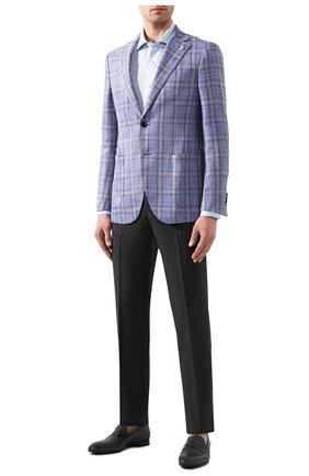 Мужская льняная рубашка ERMENEGILDO ZEGNA голубого цвета, арт. UUX38/SRF5 | Фото 2