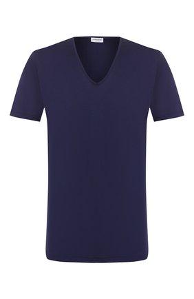 Мужские хлопковая футболка ZIMMERLI темно-синего цвета, арт. 286-1442 | Фото 1