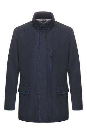 Мужская куртка BRIONI темно-синего цвета, арт. SFND0L/P8805   Фото 1 (Материал внешний: Синтетический материал, Полиэстер; Материал подклада: Хлопок; Рукава: Длинные; Мужское Кросс-КТ: Куртка-верхняя одежда, Верхняя одежда; Длина (верхняя одежда): До середины бедра; Кросс-КТ: Ветровка, Куртка)