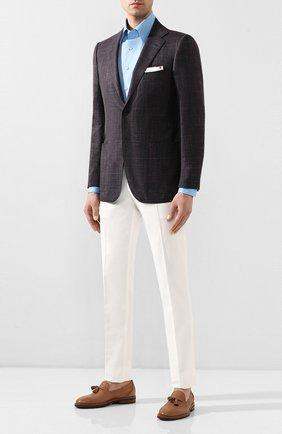 Мужская хлопковая сорочка ZILLI голубого цвета, арт. MFT-MERCU-01404/RZ01 | Фото 2