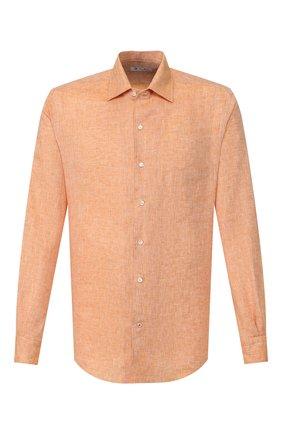 Мужская льняная рубашка LORO PIANA оранжевого цвета, арт. FAF2545 | Фото 1