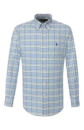 Мужская хлопковая рубашка POLO RALPH LAUREN зеленого цвета, арт. 710789014/4503 | Фото 1