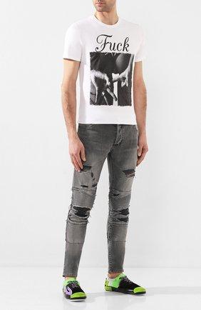 Мужская хлопковая футболка BISIBIGLIO белого цвета, арт. MESSAGE FUCK/HEAVY   Фото 2
