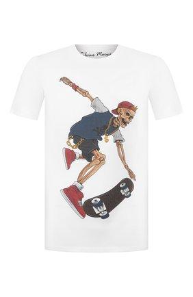 Мужская хлопковая футболка BISIBIGLIO белого цвета, арт. SKULL SKATEB0ARD/HEAVY   Фото 1