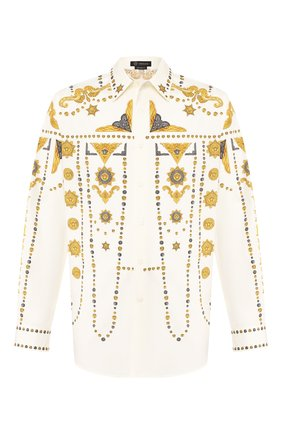 Мужская хлопковая рубашка VERSACE белого цвета, арт. A84777/A232731 | Фото 1