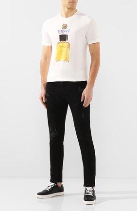 Мужская хлопковая футболка VERSACE белого цвета, арт. A85575/A228806 | Фото 2