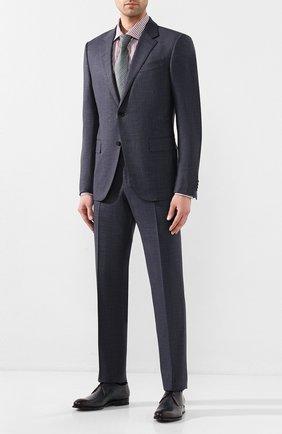 Мужской кожаные дерби W.GIBBS темно-синего цвета, арт. 8378101/0386   Фото 2