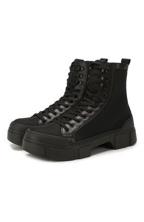 Мужские комбинированные ботинки VIC MATIE черного цвета, арт. 1X8162U.V06C4WB001 | Фото 1 (Подошва: Массивная; Каблук высота: Высокий; Материал внутренний: Натуральная кожа; Материал внешний: Текстиль; Мужское Кросс-КТ: Ботинки-обувь)
