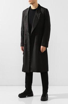 Мужские комбинированные ботинки VIC MATIE черного цвета, арт. 1X8162U.V06C4WB001 | Фото 2 (Подошва: Массивная; Каблук высота: Высокий; Материал внутренний: Натуральная кожа; Материал внешний: Текстиль; Мужское Кросс-КТ: Ботинки-обувь)