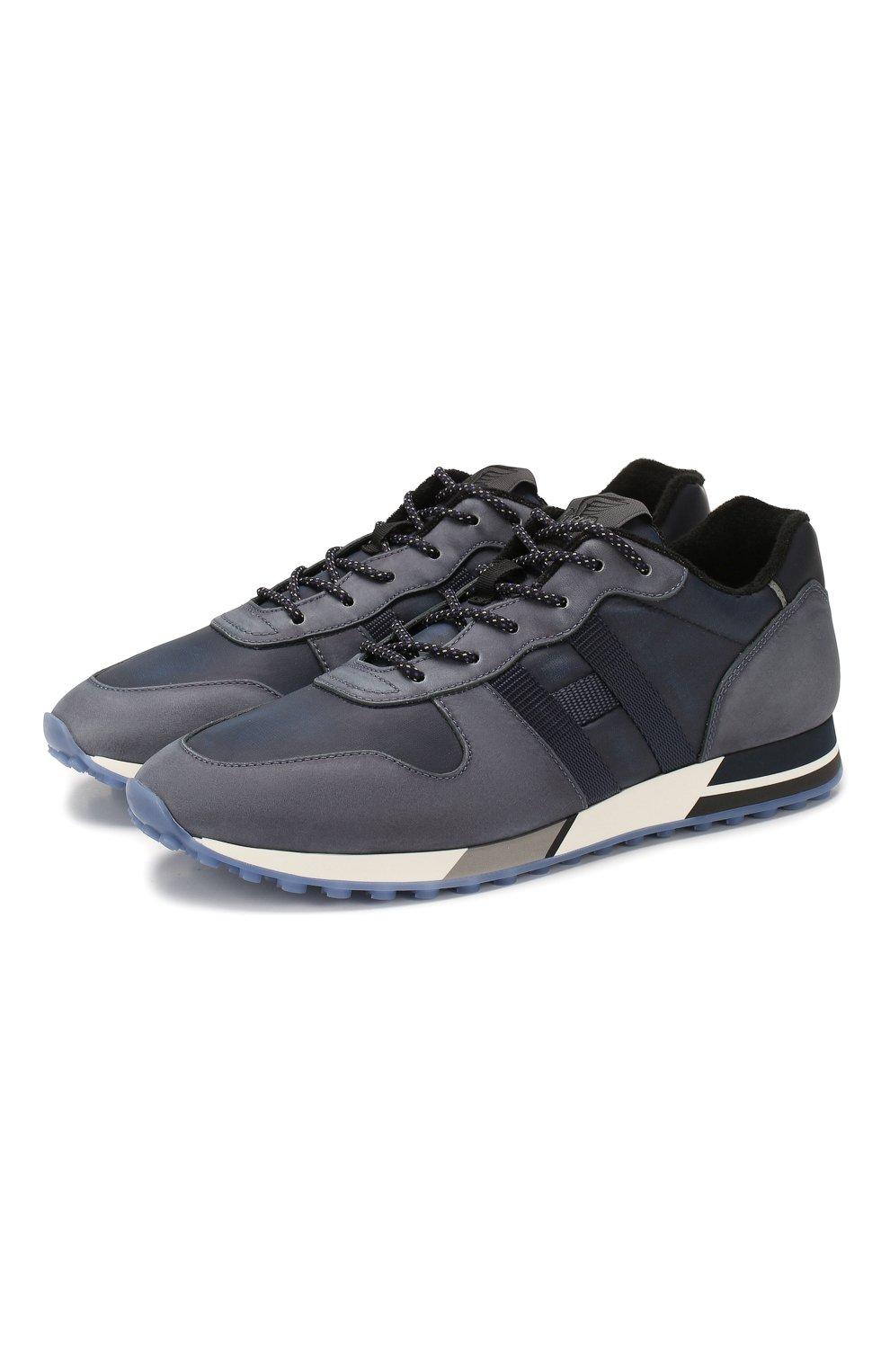 Мужские кожаные кроссовки HOGAN синего цвета, арт. HXM3830AN51N4Z | Фото 1