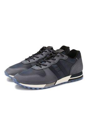 Мужские кожаные кроссовки HOGAN синего цвета, арт. HXM3830AN51N4Z   Фото 1