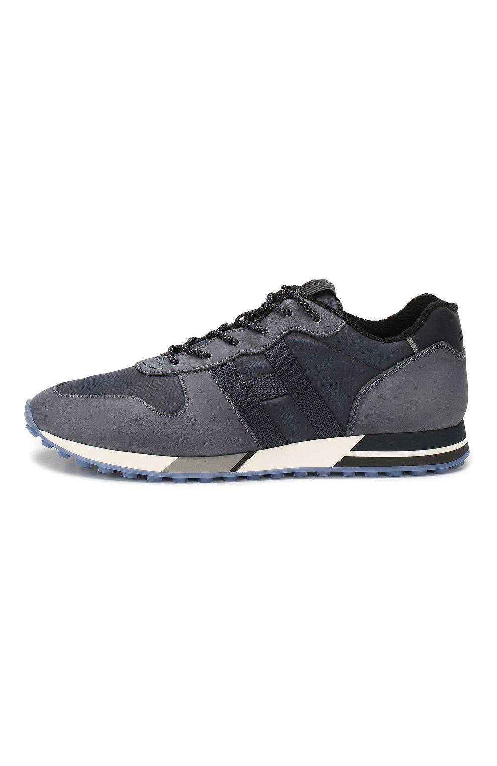 Мужские кожаные кроссовки HOGAN синего цвета, арт. HXM3830AN51N4Z | Фото 3
