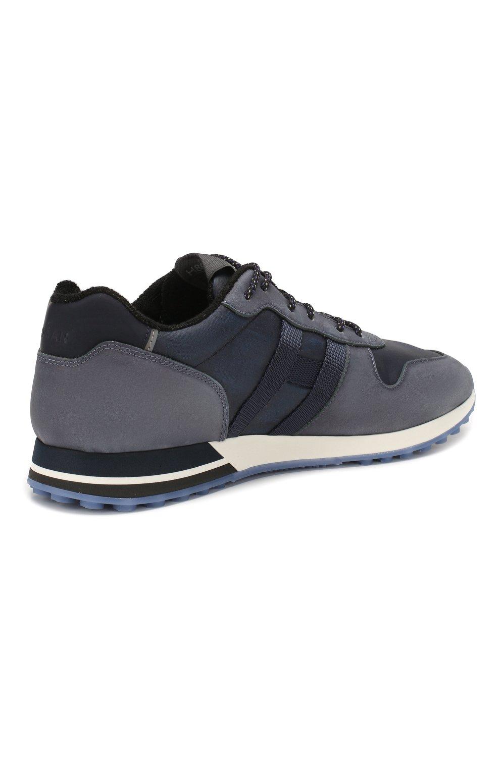 Мужские кожаные кроссовки HOGAN синего цвета, арт. HXM3830AN51N4Z | Фото 4