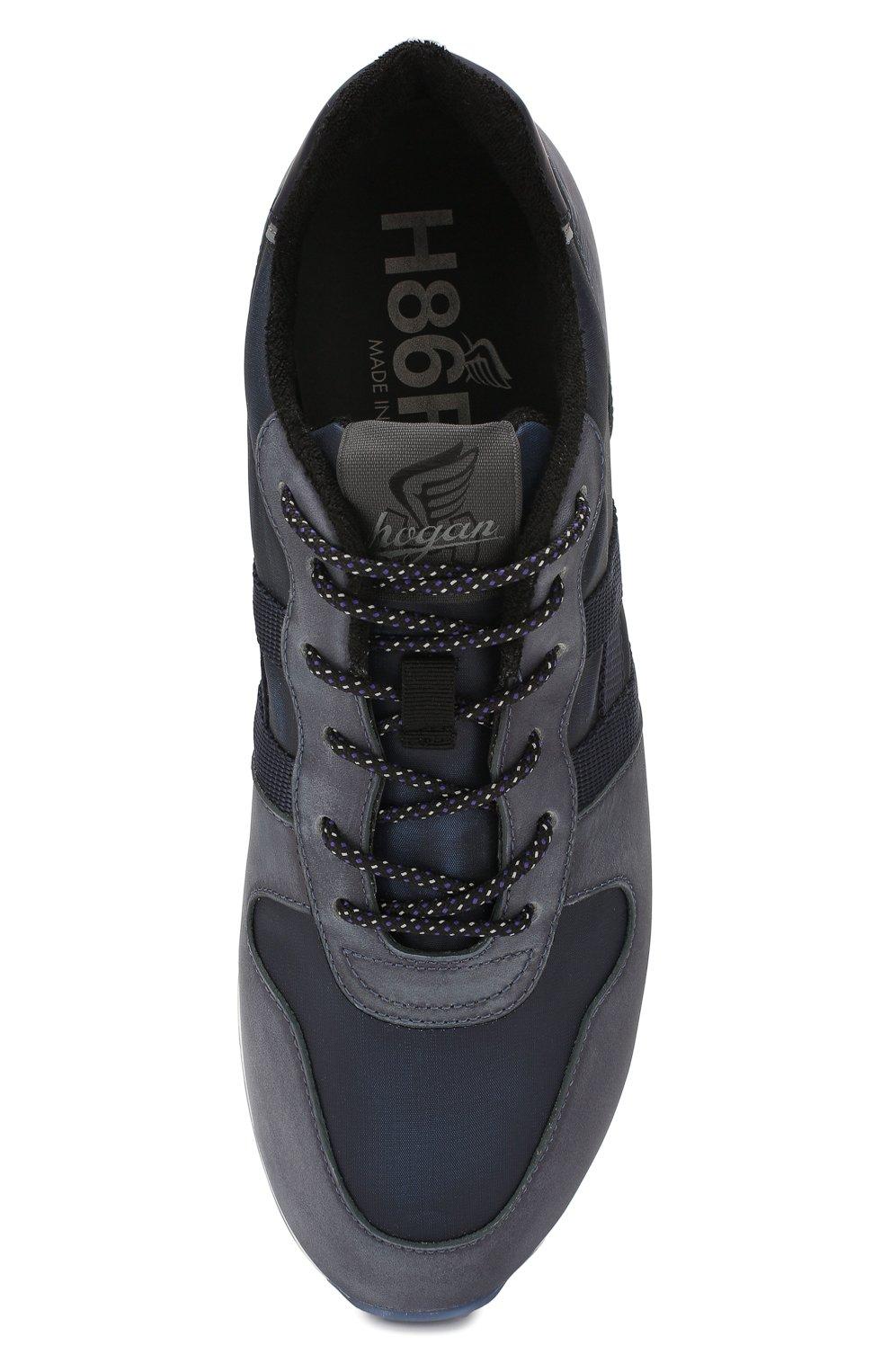 Мужские кожаные кроссовки HOGAN синего цвета, арт. HXM3830AN51N4Z | Фото 5